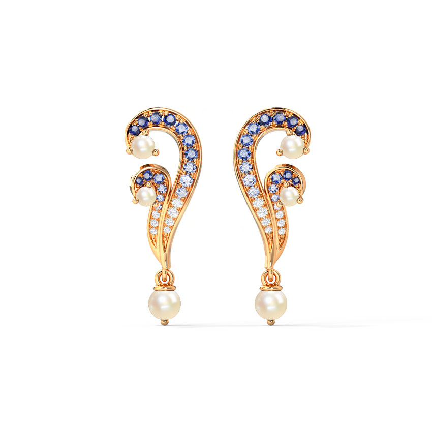 Diamond,Gemstone Earrings 14 Karat Rose Gold Arnava Ripple Gemstone Drop Earrings