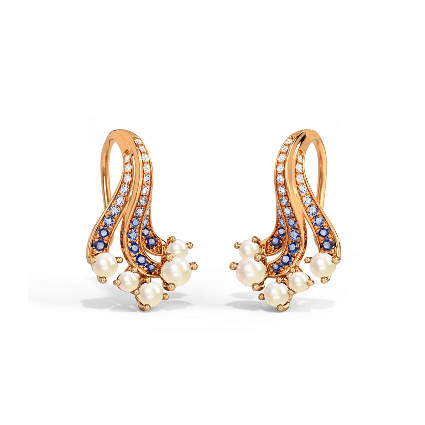 Diamond,Gemstone Earrings 14 Karat Rose Gold Ganora Wave Gemstone Drop Earrings