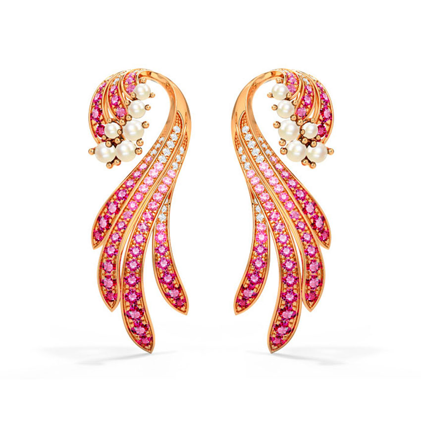 Diamond,Gemstone Earrings 14 Karat Rose Gold Keani Tide Gemstone Drop Earrings