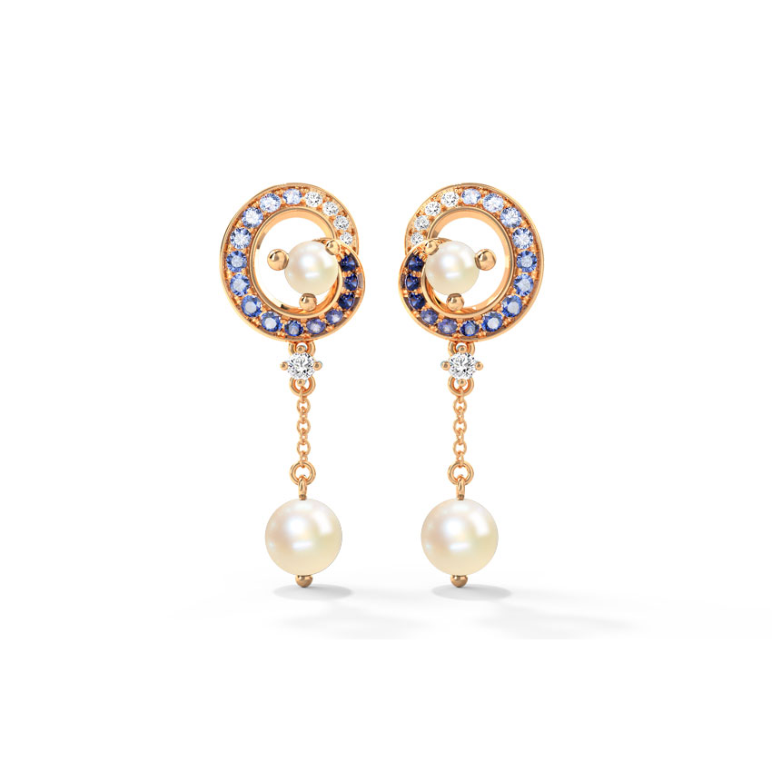 Diamond,Gemstone Earrings 14 Karat Rose Gold Laguna Gemstone Drop Earrings
