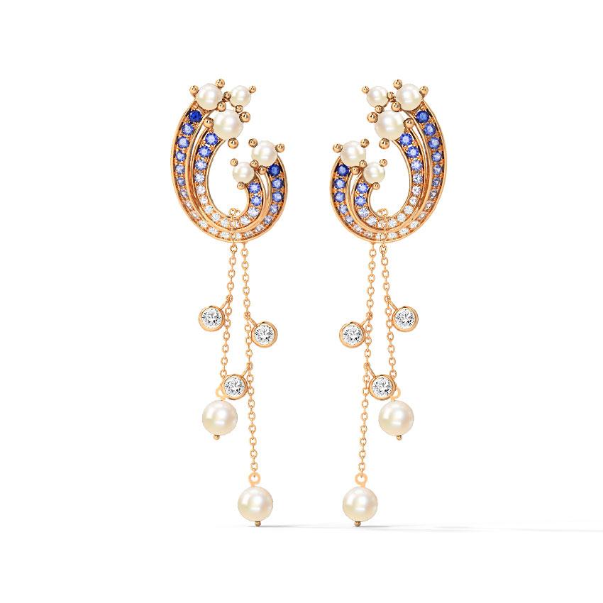 Diamond,Gemstone Earrings 14 Karat Rose Gold Derya Gemstone Drop Earrings