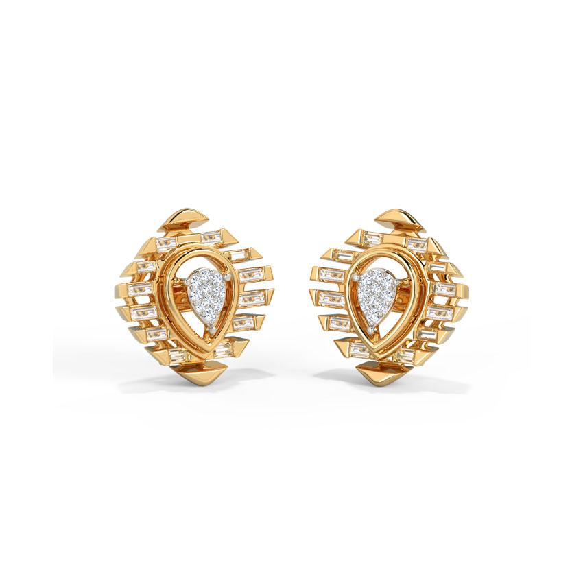 Diamond Earrings 14 Karat Yellow Gold Sylvya Diamond Stud Earrings