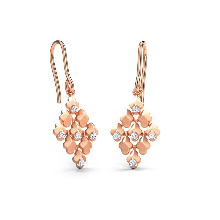 Diamond Earrings 14 Karat Rose Gold Maulene Folia Diamond Drop Earrings