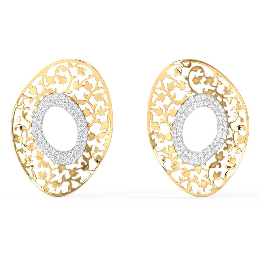 Diamond Earrings 14 Karat Yellow Gold Aliyeh Diamond Stud Earrings