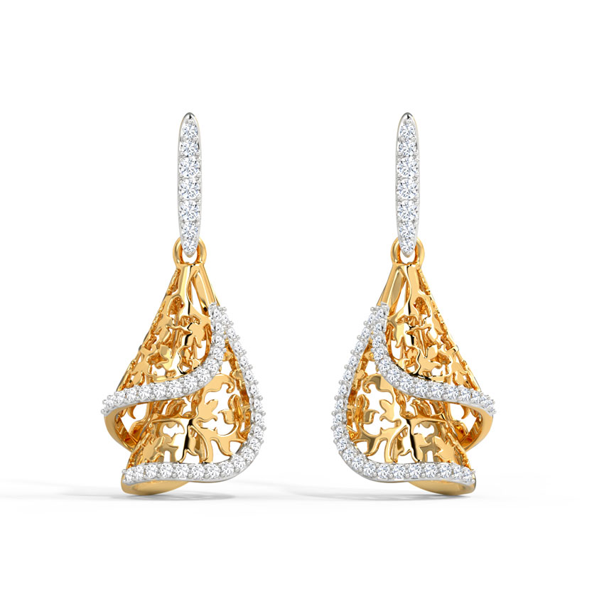 Diamond Earrings 14 Karat Yellow Gold Farva Diamond Drop Earrings