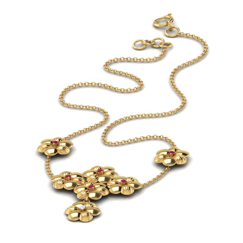 Diamond,Gemstone Necklaces 18 Karat Yellow Gold Blossom Gemstone Necklace