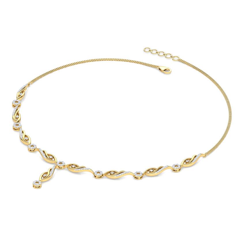 Diamond Necklaces 18 Karat Yellow Gold Camellia Diamond Necklace