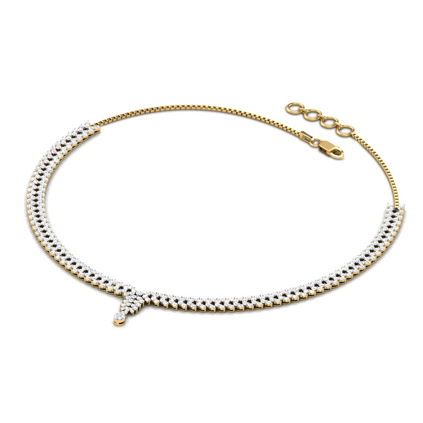 Diamond Necklaces 14 Karat Yellow Gold Theo Leaf Bunch Diamond Necklace