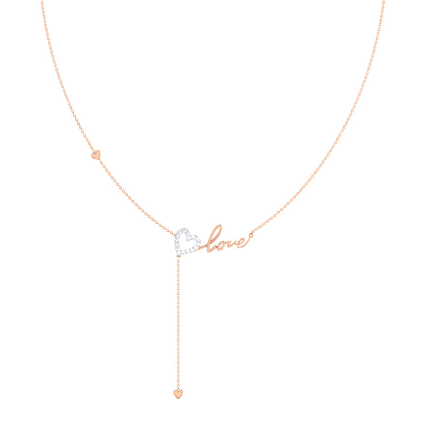 Love Cursive Lariat Necklace