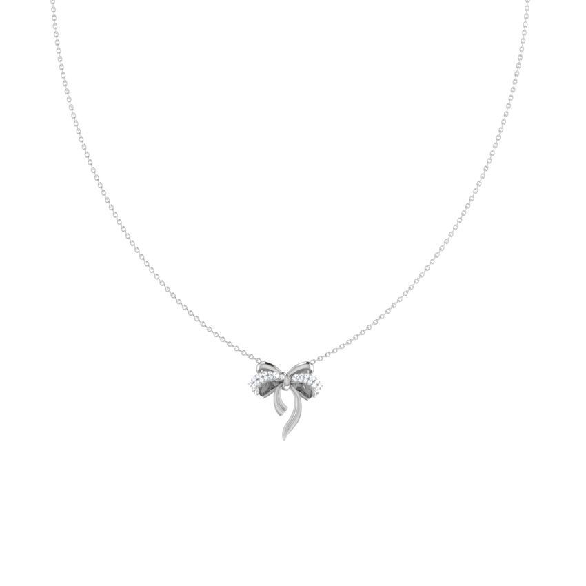 Diamond Necklaces 14 Karat White Gold Cute Bow Diamond Necklace