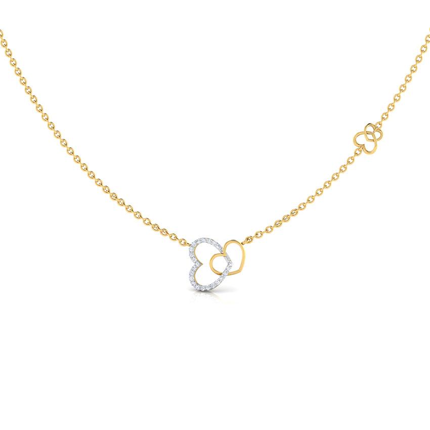 Diamond Necklaces 18 Karat Rose Gold Interlinked Hearts Diamond Necklace