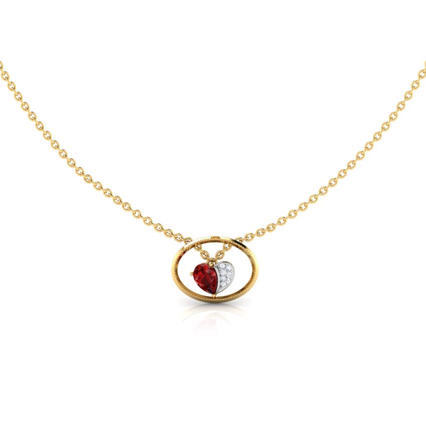 Diamond,Gemstone Necklaces 18 Karat Rose Gold Oval Frame Heart Gemstone Necklace