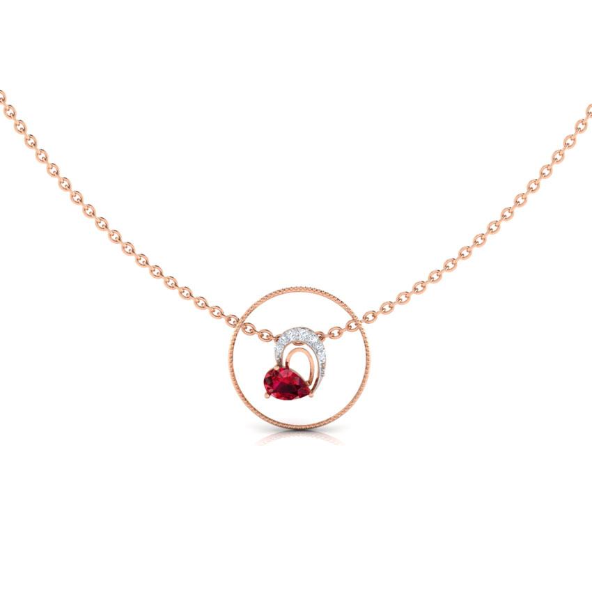 Diamond,Gemstone Necklaces 18 Karat White Gold Cute Framed Heart Gemstone Necklace