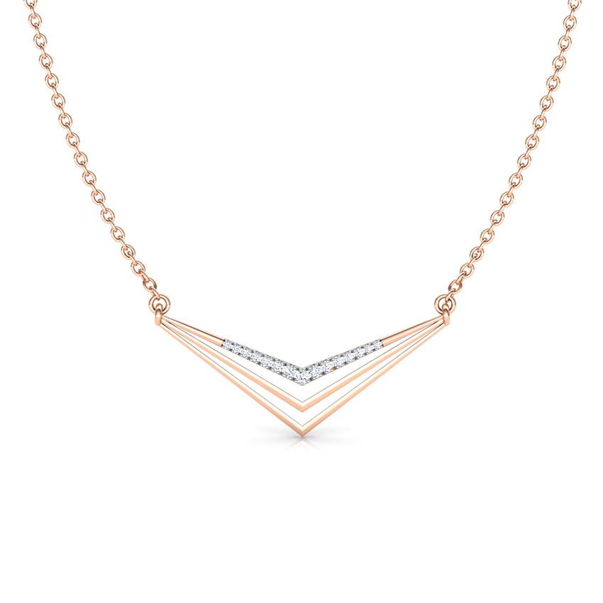 Diamond Necklaces 18 Karat Rose Gold Peak Geometric Diamond Necklace