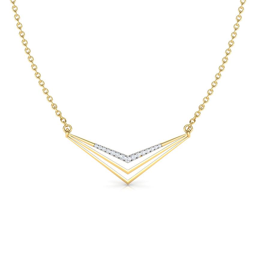 Diamond Necklaces 18 Karat Yellow Gold Peak Geometric Diamond Necklace