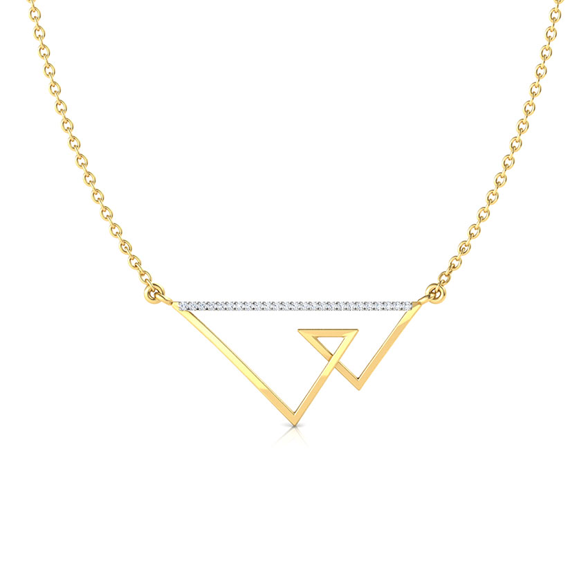 Diamond Necklaces 18 Karat Yellow Gold Duo Tri Geometric Diamond Necklace