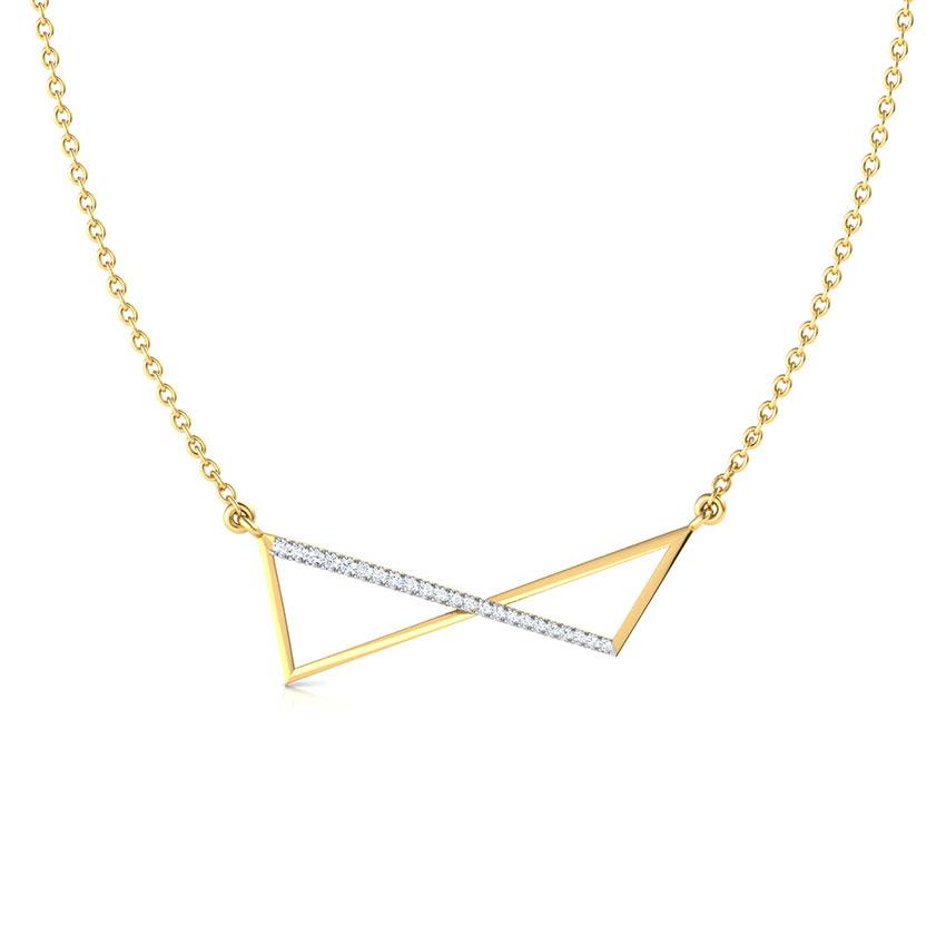 Diamond Necklaces 18 Karat Yellow Gold Flux Geometric Diamond Necklace