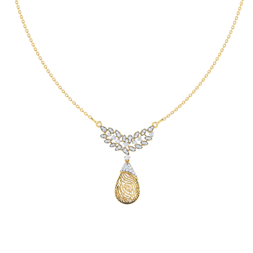 Diamond Necklaces 18 Karat Yellow Gold Lupine Wood Grain Diamond Necklace