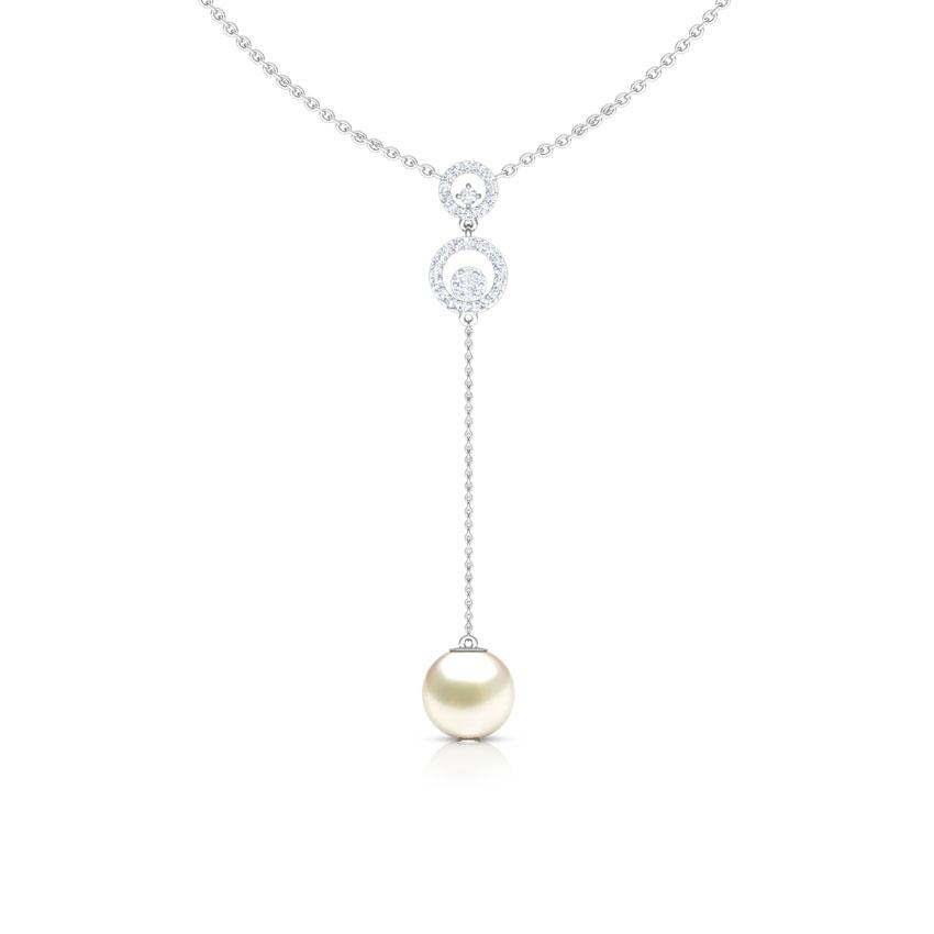 Diamond,Gemstone Necklaces 18 Karat White Gold Y-Shape Gemstone Necklace