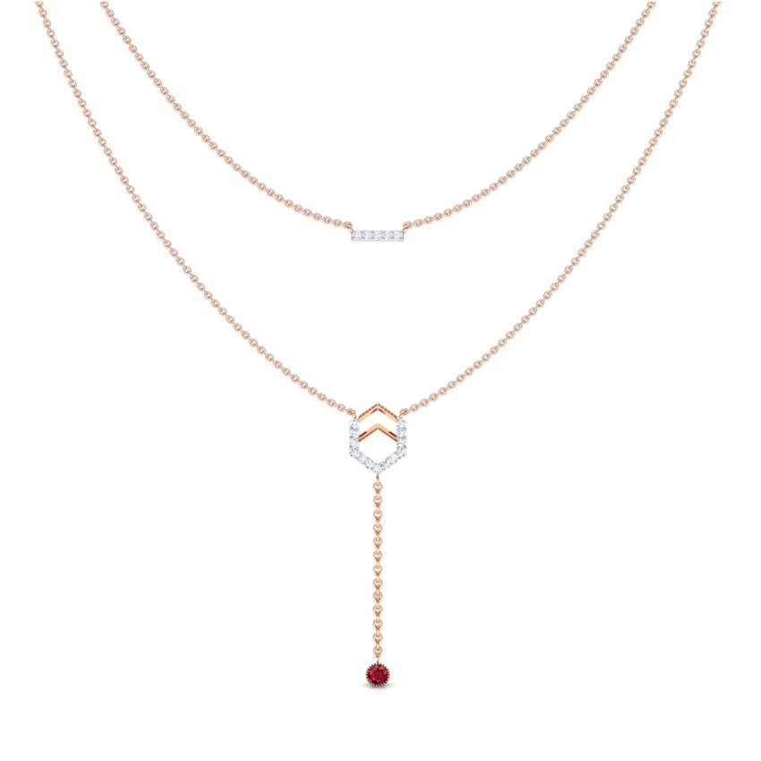 Diamond,Gemstone Necklaces 18 Karat Rose Gold Hexa Bar Multi Layer Gemstone Necklace