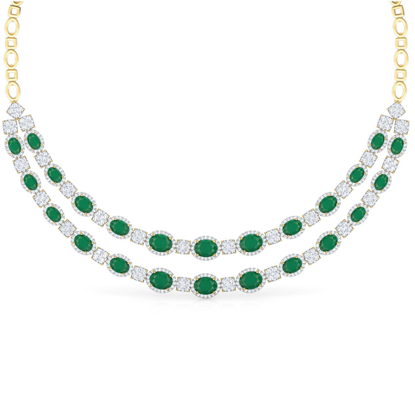 Quad and Oval Two Row Necklace