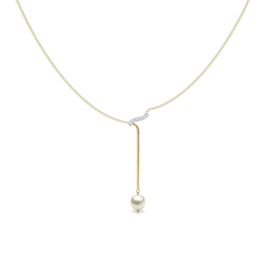 Diamond,Gemstone Necklaces 18 Karat Yellow Gold Pearl Drop Y Gemstone Necklace
