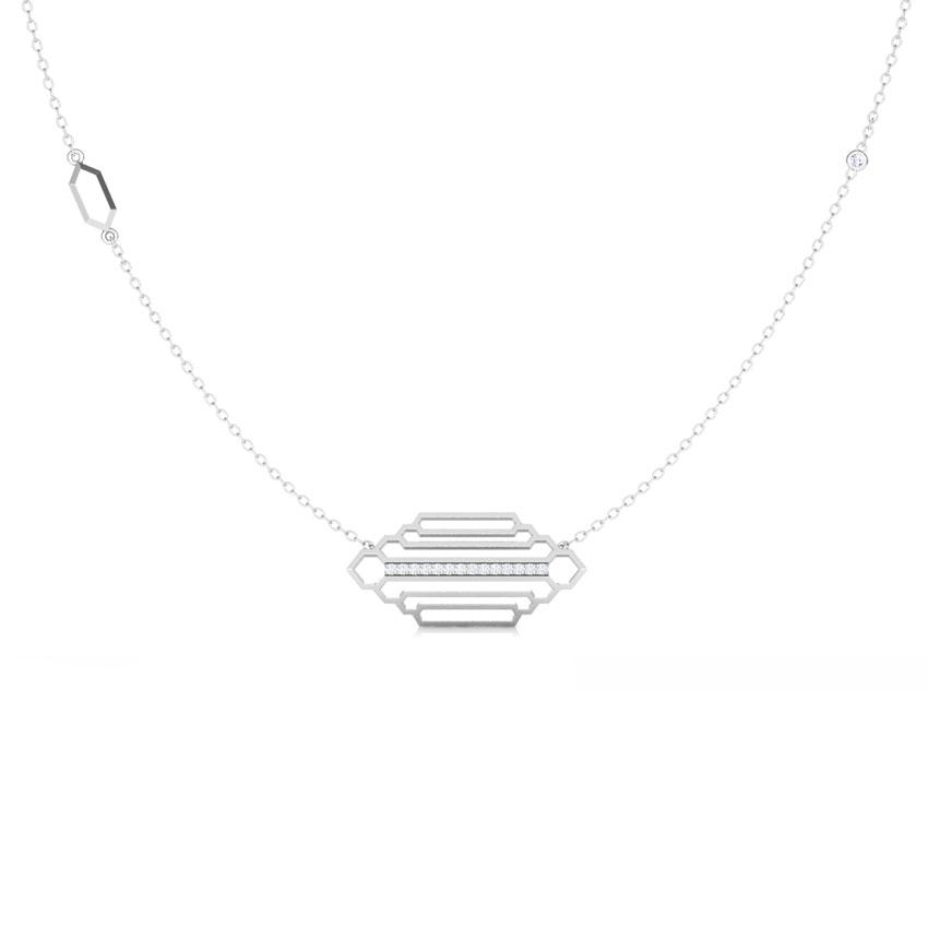Diamond Necklaces 18 Karat White Gold Regal Stepped Diamond Necklace