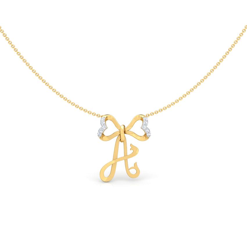 Diamond Necklaces 18 Karat Yellow Gold Alphabet A Bow Diamond Necklace
