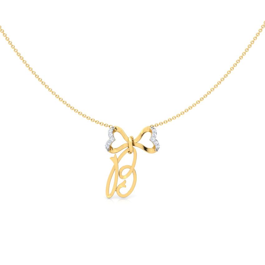 Alphabet B Bow Necklace