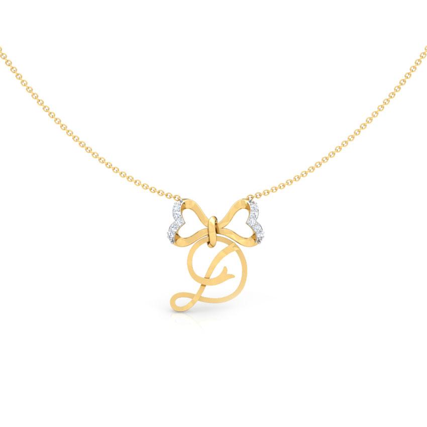 Alphabet D Bow Necklace