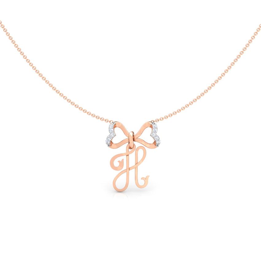 Alphabet H Bow Necklace