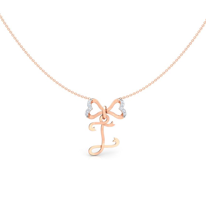 Alphabet I Bow Necklace