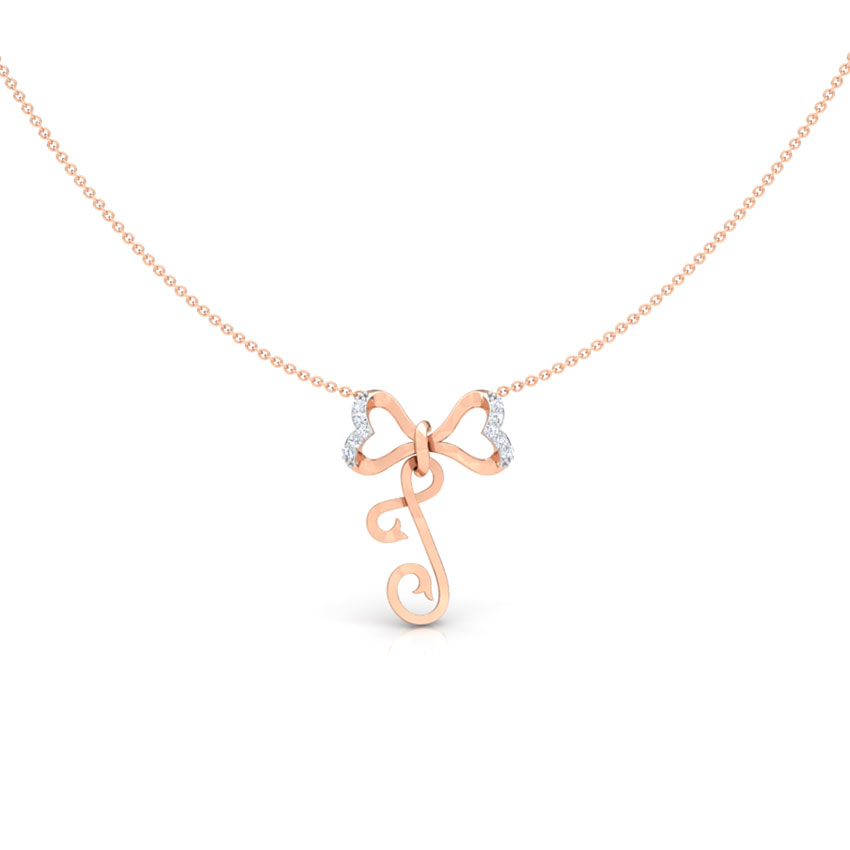 Alphabet J Bow Diamond Necklace