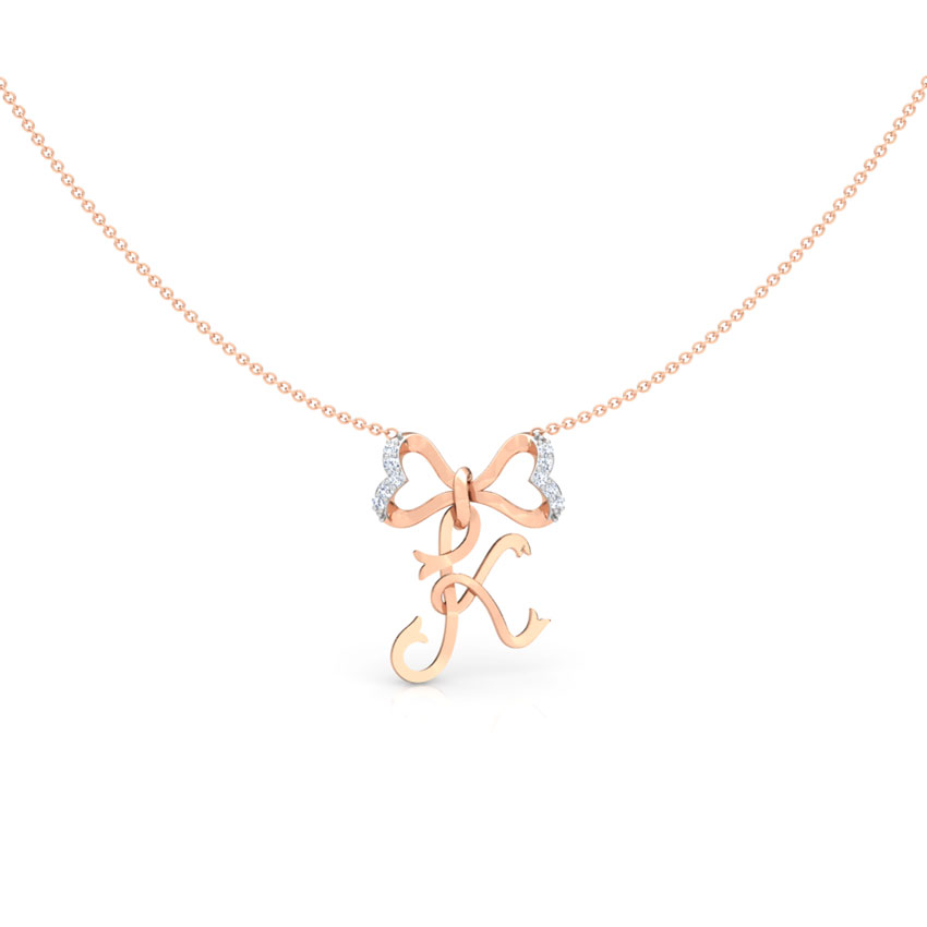 Alphabet K Bow Diamond Necklace