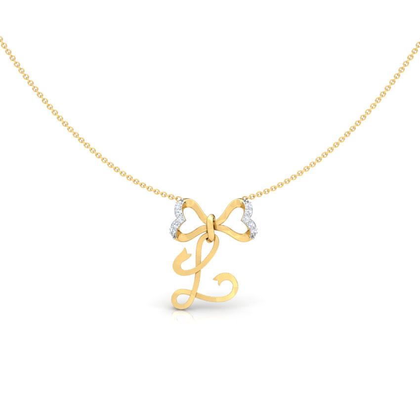 Alphabet L Bow Necklace