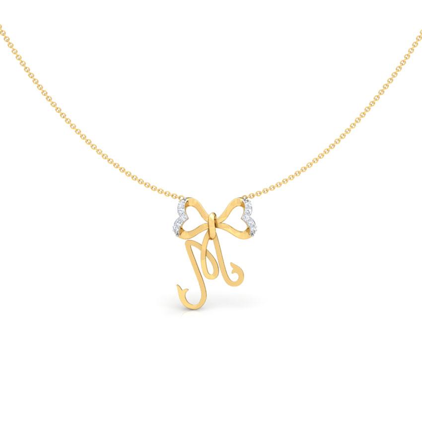 Alphabet M Bow Necklace