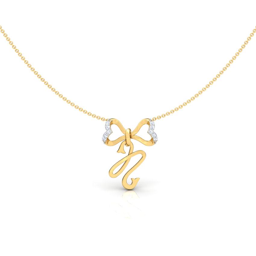 Diamond Necklaces 18 Karat Yellow Gold Alphabet N Bow Diamond Necklace
