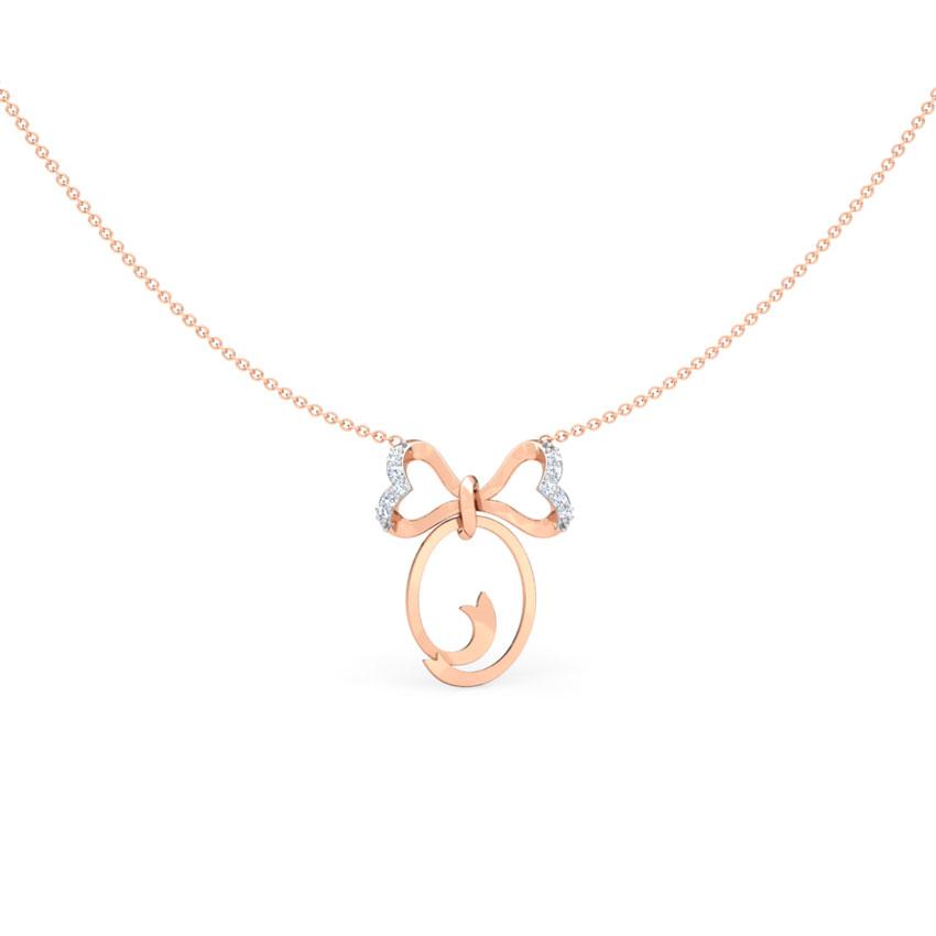 Alphabet O Bow Necklace