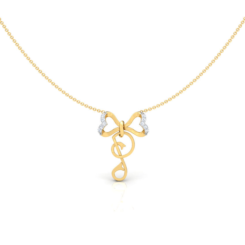 Alphabet P Bow Necklace