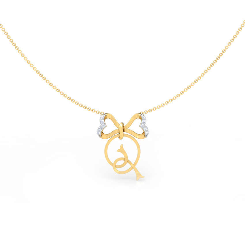 Alphabet Q Bow Necklace