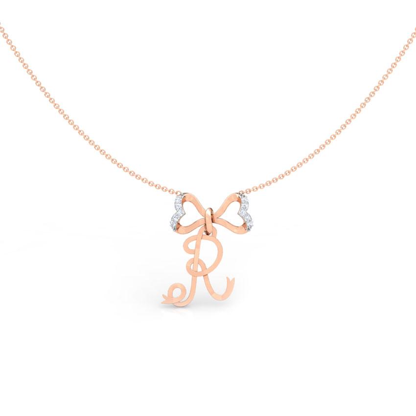 Alphabet R Bow Necklace
