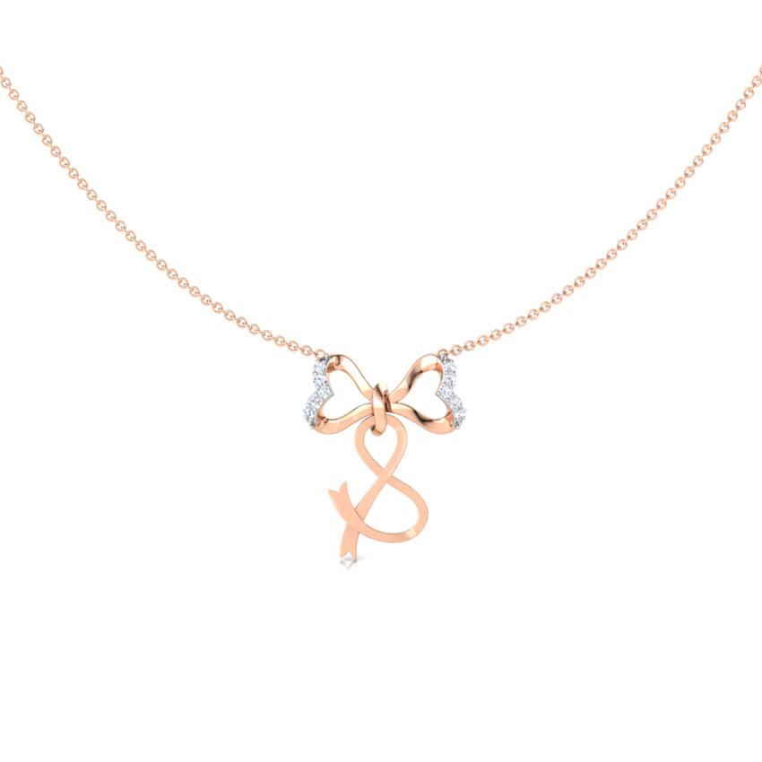 Alphabet S Bow Necklace