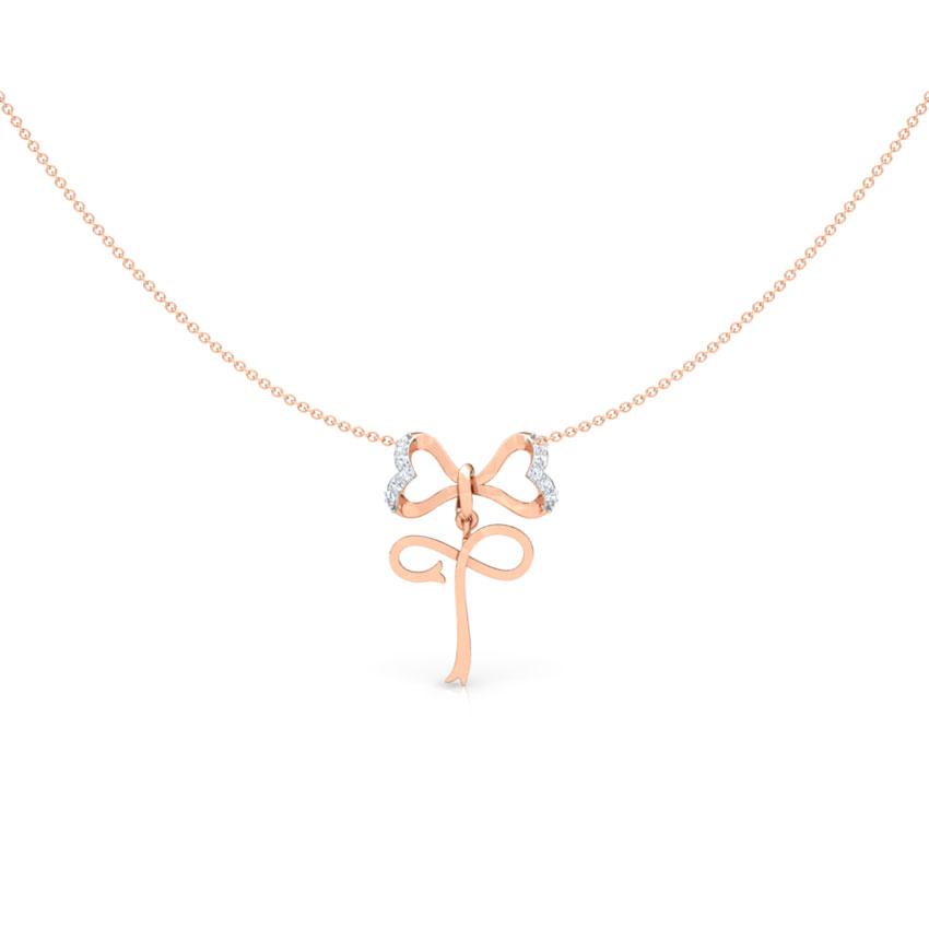 Alphabet T Bow Necklace