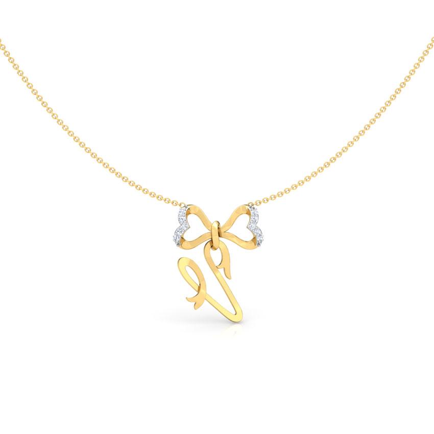 Alphabet V Bow Necklace