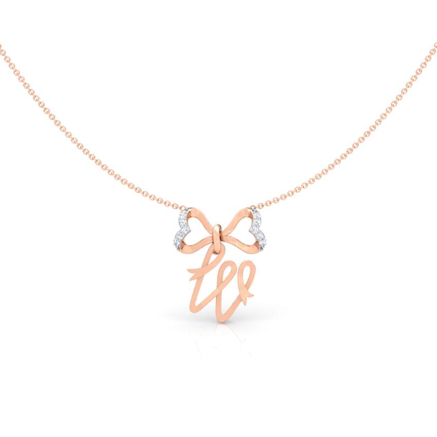 Alphabet W Bow Necklace