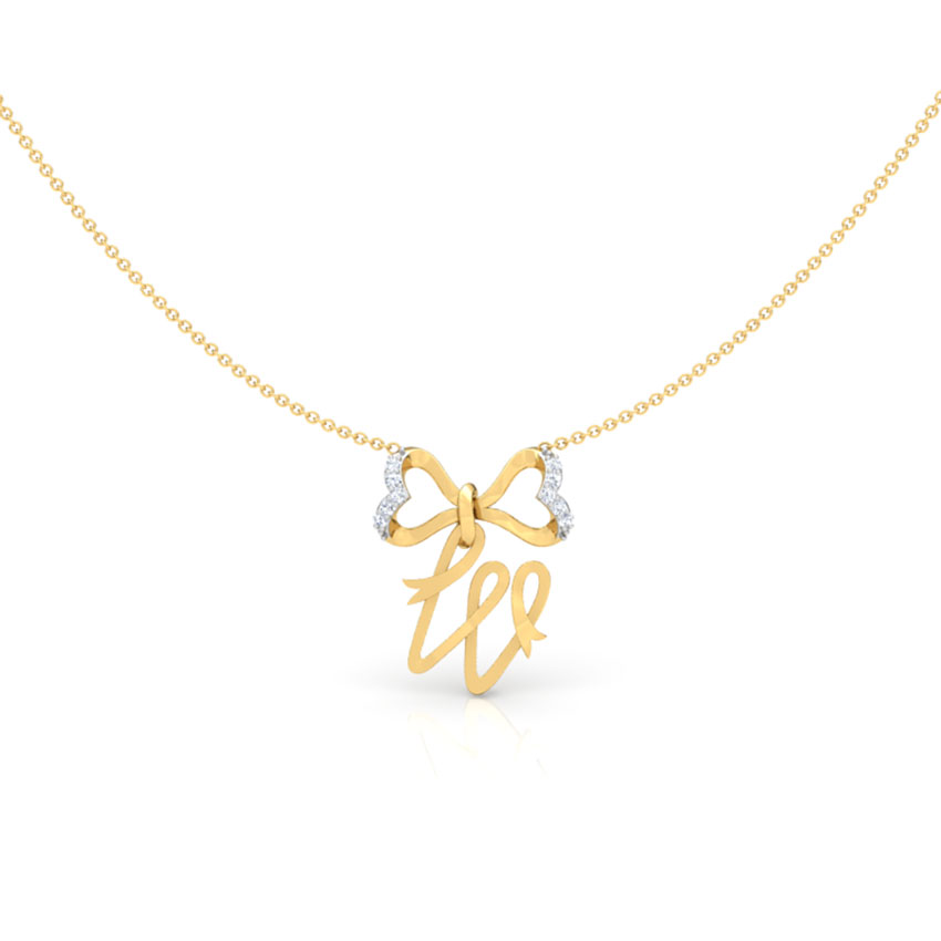 Alphabet W Bow Necklace