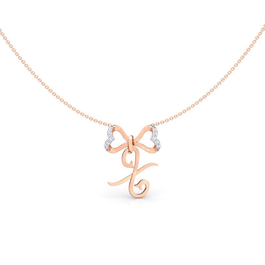 Alphabet X Bow Necklace