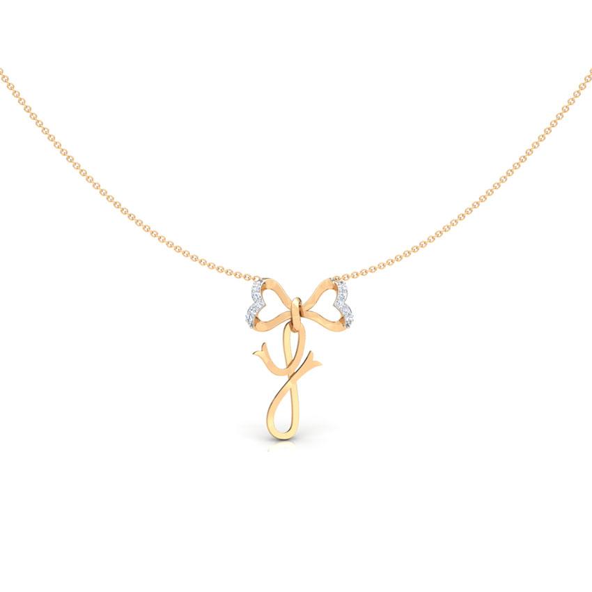 Alphabet Y Bow Necklace