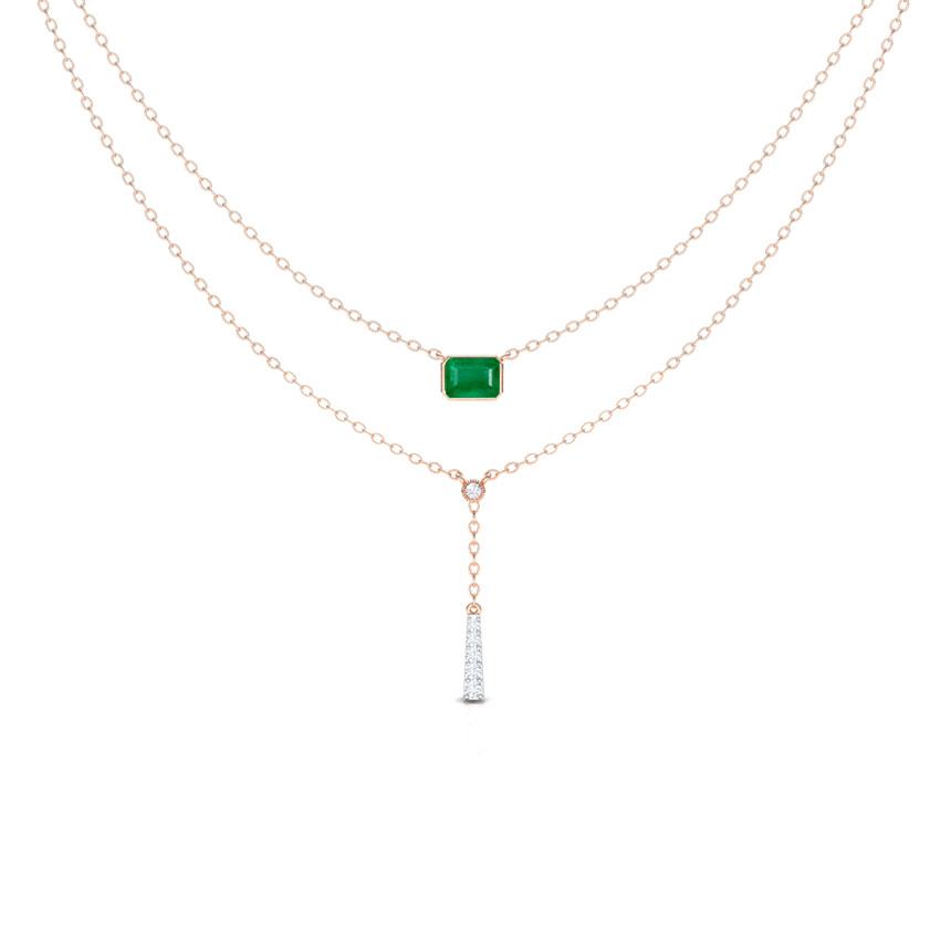 Diamond,Gemstone Necklaces 18 Karat Rose Gold Octa Tassel Multi Layer Gemstone Necklace