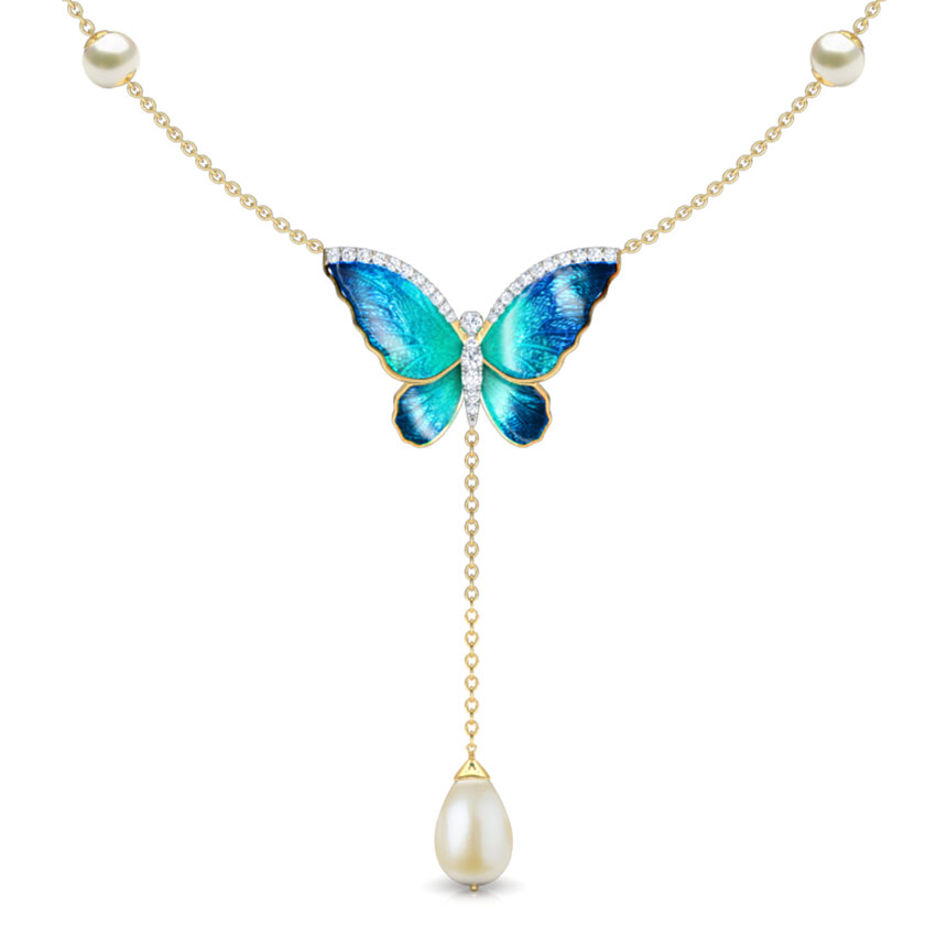 Diamond,Gemstone Necklaces 18 Karat Yellow Gold Flared Blue Butterfly Gemstone Necklace